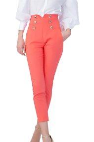 Billy Sabbado γυναικείο παντελόνι ψηλόμεσο με διακοσμητικά κουμπιά - 0292486286 - Κοραλί