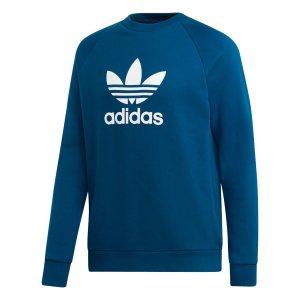 Adidas ανδρικό φούτερ με στρογγυλή λαιμόκοψη Trefoil Warm-Up - DV1545 - Μπλε