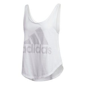 Adidas γυναικεία αθλητική αμάνικη μπλούζα με logo print - DT9344 - Λευκό