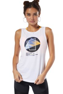 Reebok γυναικεία αμάνικη μπλούζα με τύπωμα - DP5845 - Λευκό