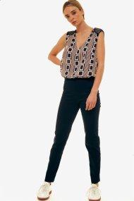 Jupe γυναικείο μονόχρωμο παντελόνι cigarette - 21.191.J03.012 - Μπλε Σκούρο