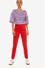 Jupe γυναικείο μονόχρωμο παντελόνι cigarette - 21.191.J03.012 - Κόκκινο