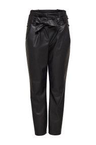 ΟNLY γυναικείο παντελόνι απο faux δέρμα Leather look trousers - 15161262 - Μαύρο