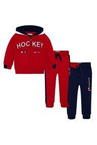 Mayoral παιδικό σετ ρούχων με ζακέτα και δύο παντελόνια φόρμας (2- 9 χρονών) - 43 - Κόκκινο
