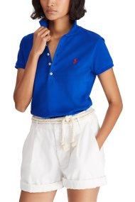 Polo Ralph Lauren γυναικεία μπλούζα Polo με χρωματιστό λογότυπο Slim Fit - 211505654128 - Μπλε Ηλεκτρίκ