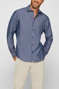 Esprit ανδρικό πουκάμισο λινό Slim fit COOLMAX® - 079EE2F004 - Μπλε