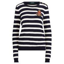 7fec26f9c22e Lauren Ralph Lauren γυναικεία ριγέ μπλούζα πλεκτή Bullion Patch Striped  Sweater - 200711468001 - Μαύρο