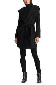 Lauren Ralph Lauren γυναικείο midi μάλλινο παλτό με ζώνη και κουκούλα - 297773254001 - Μαύρο