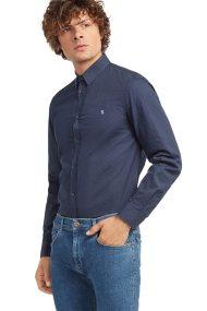 Trussardi Jeans ανδρικό πουκάμισο με μικροσχέδιο πουά Slim fit - 52C00058-1T001671 - Μπλε Σκούρο