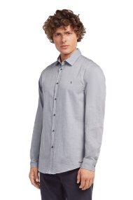 Trussardi Jeans μονόχρωμο βαμβακερό ανδρικό πουκάμισο - 52C00063-1T001660 - Γκρι