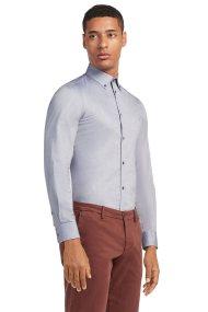Trussardi Jeans ανδρικό πουκάμισο μονόχρωμο Regular fit stretch - 52C00069-1T001657 - Γαλάζιο