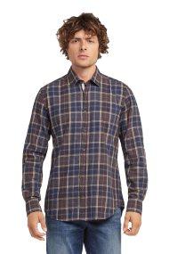 Trussardi Jeans ανδρικό καρό πουκάμισο Close fit - 52C00075-1T001663 - Καφέ