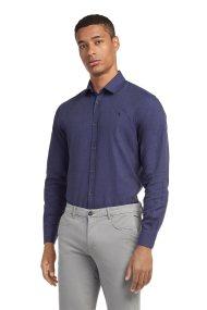 Trussardi Jeans μονόχρωμο βαμβακερό πουκάμισο - 52C00075-1T001669 - Μοβ
