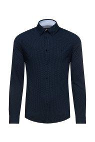 Trussardi Jeans ανδρικό πουκάμισο με πουά μικροσχέδιο - 52C00138-1T002235 - Μπλε Σκούρο