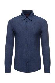 Trussardi Jeans ανδρικό λινό πουκάμισο μονόχρωμο - 52C00139-1T002248 - Μπλε Σκούρο