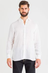 Trussardi Jeans ανδρικό λινό πουκάμισο μονόχρωμο - 52C00139-1T002248 - Λευκό