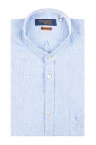 Trussardi Jeans ανδρικό λινό πουκάμισο με μάο γιακά - 52C00141-1T002248 - Γαλάζιο