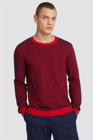 Trussardi Jeans ανδρική μακρυμάνικη μπλεκτή μπλούζα με logo print - 52M00190-0F000315 - Κόκκινο