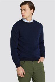 Trussardi Jeans ανδρική μακρυμάνικη μπλεκτή μπλούζα με ανάγλυφη πλέξη - 52M00204-0F000321 - Μπλε Σκούρο