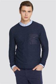 Trussardi Jeans ανδρική μακρυμάνικη μπλεκτή μπλούζα Slim fit - 52M00205-0F000322 - Μπλε Σκούρο