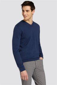 Trussardi Jeans ανδρική μακρυμάνικη μπλεκτή μπλούζα με λαιμόκοψη V - 52M00222-0F000313 - Μπλε Σκούρο