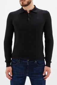 Trussardi Jeans ανδρική πλκεκτή μπλούζα πόλο με κεντημένο λογότυπο - 52M00237-0F000412 - Μαύρο