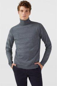 Trussardi Jeans ανδρικό πλεκτό με ζιβάγκο Regular fit - 52M00264-0F000437 - Ανθρακί
