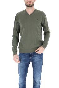 Trussardi Jeans ανδρική πλεκτή μπλούζα με V λαιμόκοψη - 52M00303-0F000477 - Χακί