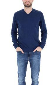 Trussardi Jeans ανδρική πλεκτή μπλούζα με V λαιμόκοψη - 52M00303-0F000477 - Μπλε Σκούρο