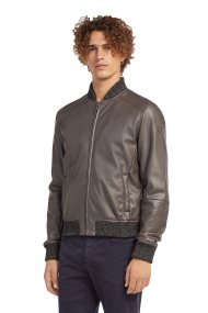 Trussardi Jeans ανδρικό bomber jacket απο faux leather - 52S00253-1T001375 - Γκρι