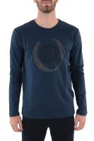 Trussardi Jeans ανδρική μπλούζα μακρυμάνικη με logo print - 52T00302-1T001675 - Μπλε Σκούρο