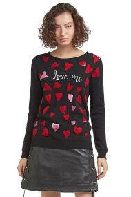 Trussardi Jeans γυναικείο πλεκτό με καρδιές - 56M00138-0F000204 - Μαύρο