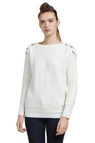 Trussardi Jeans γυναικεία μπλούζα πλεκτή με κορδέλα - 56M00147-0F000210 - Εκρού