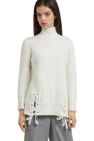 Trussardi Jeans γυναικεία μπλούζα πλεκτή με κορδέλες και τρούκ - 56M00149-0F000210 - Εκρού