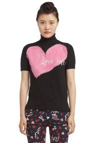 Trussardi Jeans γυναικεία μπλούζα πλεκτή με απλικέ oversize καρδιά - 56M00159-0F000204 - Μαύρο