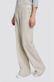 Trussardi Jeans γυναικεία λινή παντελόνα - 56P00135-1T002276 - Εκρού