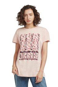 Trussardi Jeans γυναικείο t-shirt με print καρδιές - 56T00108-1T001637 - Nude