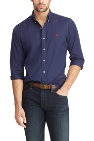 Polo Ralph Lauren ανδρικό πουκάμισο με τσαλακωμένη όψη Slim Fit Twill - 710741788007 - Μπλε Σκούρο