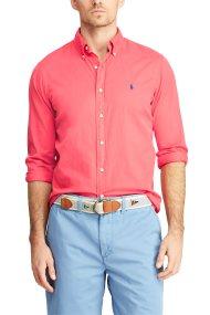 Polo Ralph Lauren ανδρικό πουκάμισο με τσαλακωμένη όψη Slim Fit Twill - 710741788008 - Κοραλί