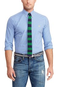 ec98363b1a1 Polo Ralph Lauren ανδρικό πουκάμισο με μικροσχέδιο καρό Classic Fit Gingham  - 710744243003 - Μπλε