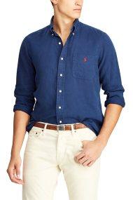 Polo Ralph Lauren ανδρικό πουκάμισο λινό Classic Fit - 710744542005 - Μπλε Σκούρο