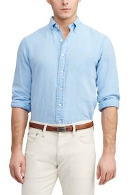 Polo Ralph Lauren ανδρικό πουκάμισο λινό Classic Fit - 710744542007 - Γαλάζιο