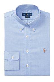 Polo Ralph Lauren ανδρικό πουκάμισο μαύρο Classic Fit Oxford - 712675619004 - Ανοιχτό Γαλάζιο
