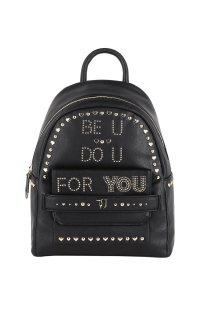 Trussardi Jeans γυναικείο backpack Paprica με lettering από μεταλλικά στοιχεία - 75B00557-9Y099998 - Μαύρο