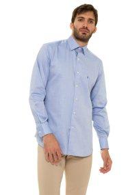 The Bostonians ανδρικό πουκάμισο μονόχρωμο με κεντημένο λογότυπο (sizes 48-50) - A8P0161X - Γαλάζιο