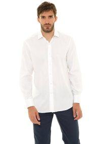 The Bostonians ανδρικό πουκάμισο μονόχρωμο με κεντημένο λογότυπο (sizes 48-50) - A8P0161X - Λευκό