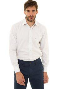 The Bostonians ανδρικό πουκάμισο μονόχρωμο με κεντημένο λογότυπο (sizes 48-50) - A8P0161X - Εκρού