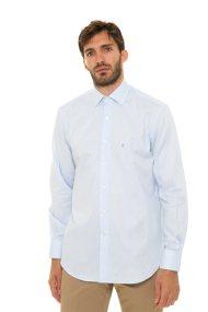 The Bostonians ανδρικό πουκάμισο μονόχρωμο με κεντημένο λογότυπο (sizes 48-50) - A8P0161X - Ανοιχτό Γαλάζιο
