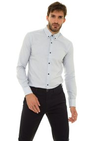 The Bostonians ανδρικό πουκάμισο μονόχρωμο με κεντημένο λογότυπο (sizes 48-50) - A8P0161X - Μπλε