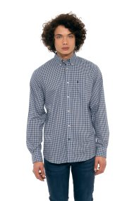 The Bostonians ανδρικό καρό πουκάμισο με τσεπάκι στο στήθος - AACH7441 - Μπλε Σκούρο